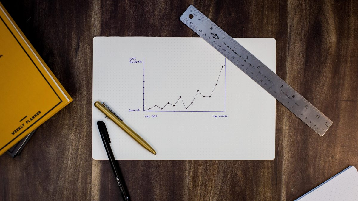 A graph on white paper sitting on a wooden desk with a pen, pencil, and ruler on top of it.